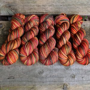 Mountain House Autumn Self Striping colorful yarn in red and yellow tones.