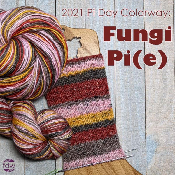 self-striping yarn and sample in mushroom colors